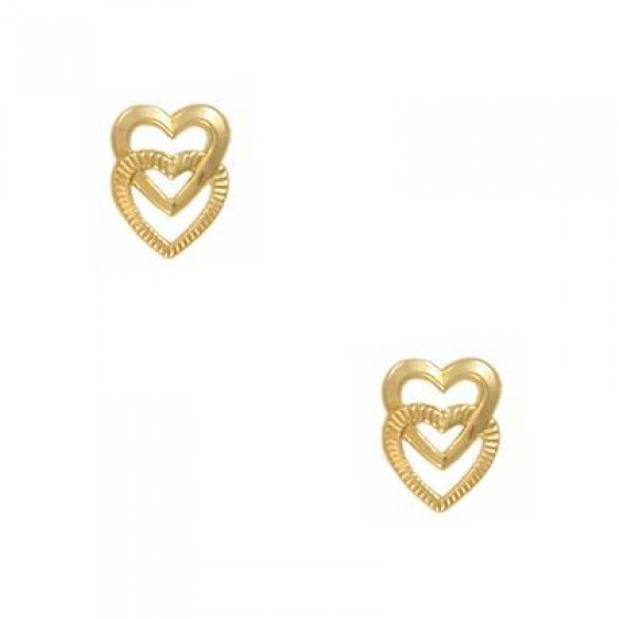 14KT YG CUTOUT DOUBLE HEART STAR