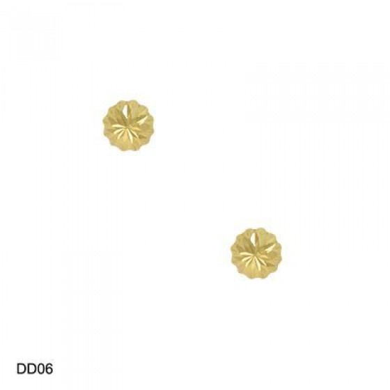 14KT YG 6mm DIAMOND CUT DOME STUD
