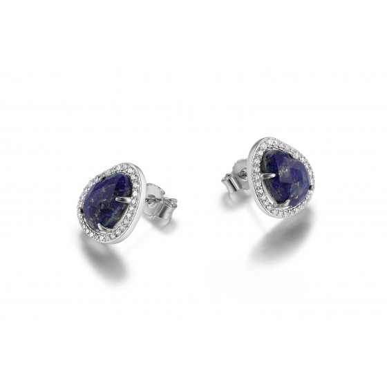 ELLE Sterling Silver Lapis and Micro Pave CZ Post Earrings