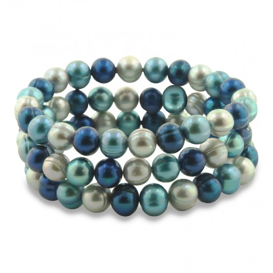 Set of 3 8-9MM Blue Moon Round Ringed Freshwater Cultured Pearl Stretch Bracelets