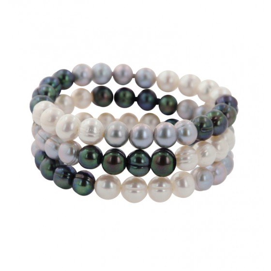 Set of 3 8-9MM Black, White and Gray Ringed Freshwater Cultured Pearl Stretch Bracelets