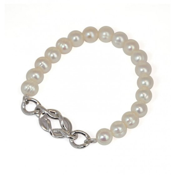 Sterling Silver 7-8MM White Freshwater Cultured Pearl 7.5 Stretch Bracelet