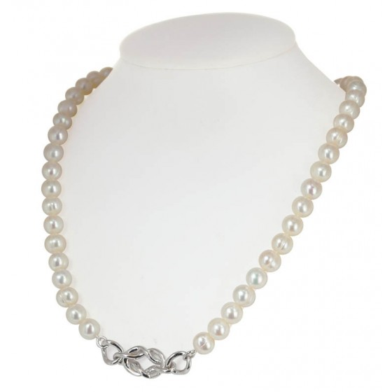 Sterling Silver 7-8MM White Freshwater Cultured Pearl 18 Necklace