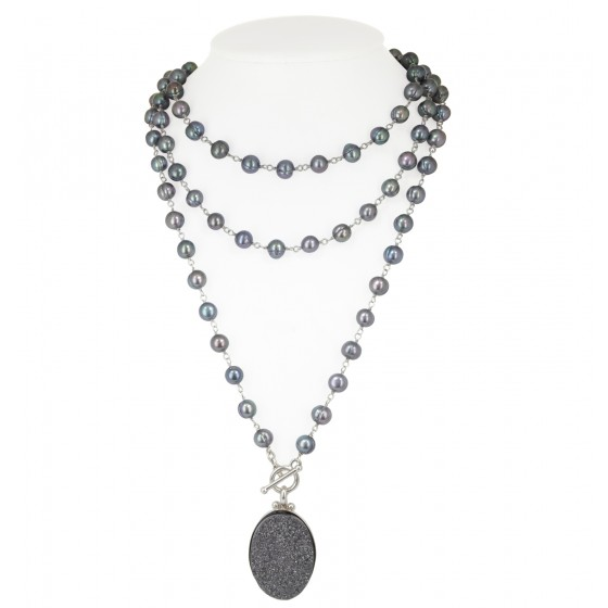 Sterling Silver 7-8MM Black Ringed Freshwater Cultured Pearl with Black Agate Druzy 48 Necklace