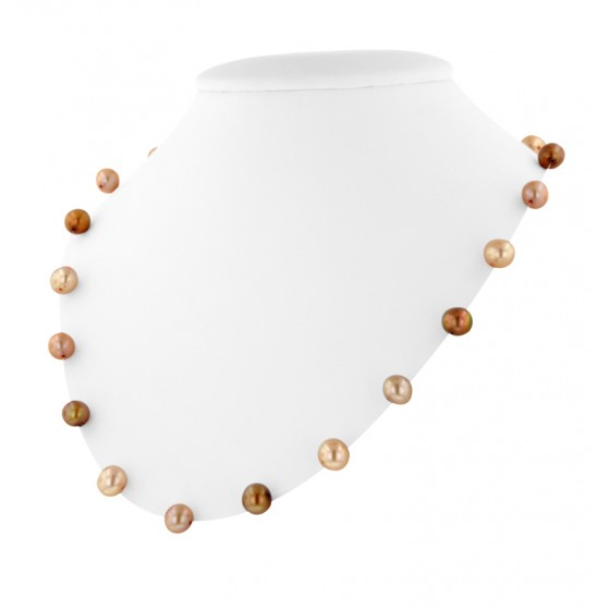 Sterling Silver 7-7.5MM Multi Chocolate Freshwater Cultured Pearl Microcord Necklace