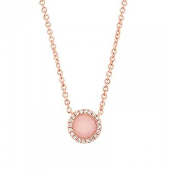 Rose Gold Opal and Diamond Necklace