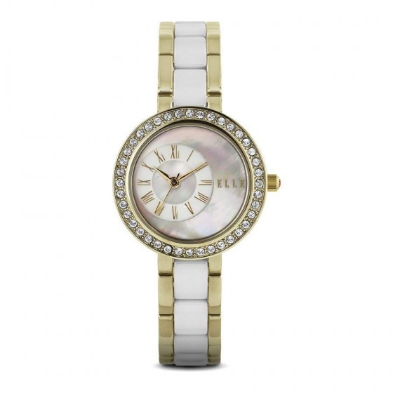 ELLE IP Gold Case Inlaid with Swarovski Stones, White MOP Dial, and IP Gold/White Ceramic Band. 30mm Case.