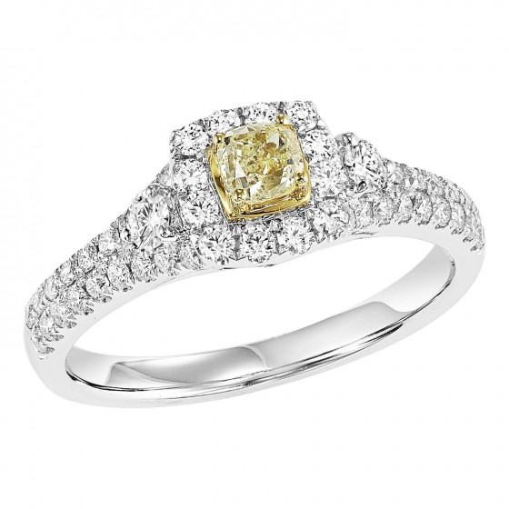 14K Diamond 7/8 ctw Engagement Ring with Yellow Center Diamond