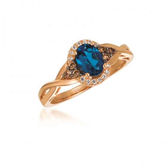 Le Vian Blue Topaz and Chocolate Diamond Ring