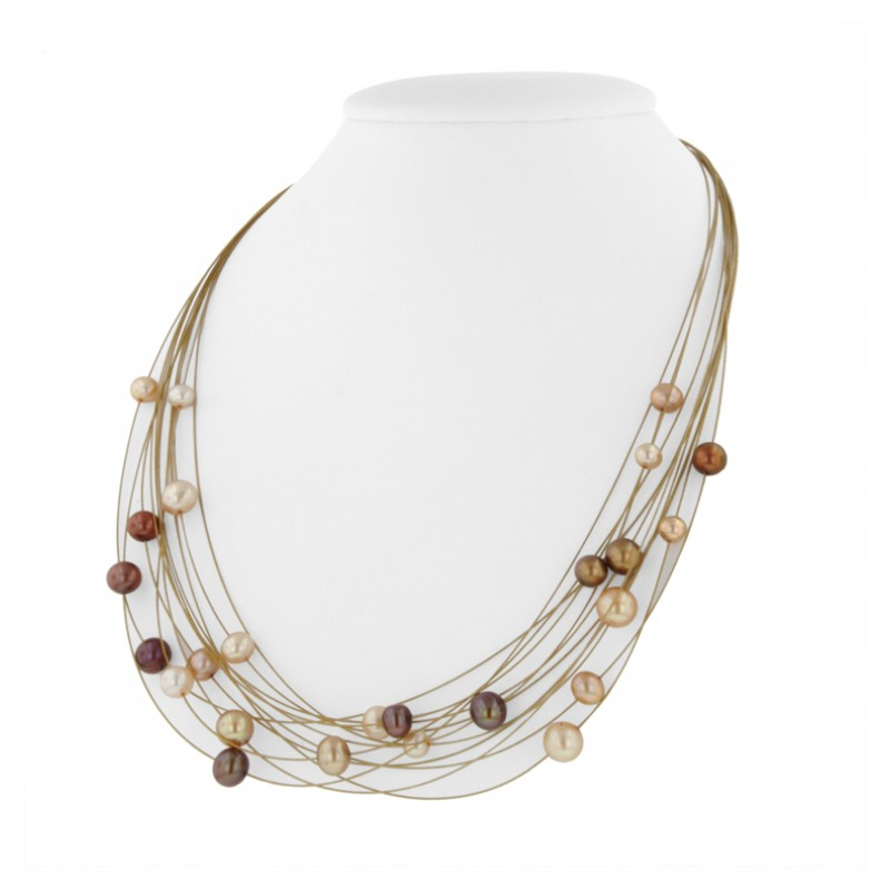 Sterling Silver And Steel 5 8mm Multi Chocolate Necklace