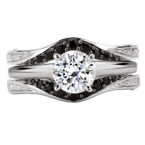 14KW BLACK DIA INSERT RING    D1/4CT, SIZE 6