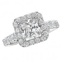 Square Halo Semi-Mount Diamond Ring