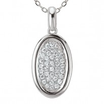 14kw Diamond Oval Shaped Pendant