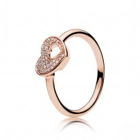 Shimmering Puzzle Heart Frame Ring
