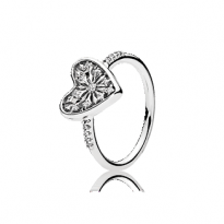 Ice crystal heart ring in sterling silver with 18 bead-set clear cubic zirconia