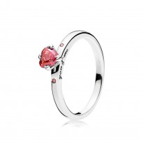 Heart Ring with Heart-Shaped Red CZ