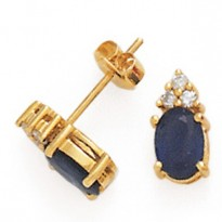 14K DIA and SAPPHIRE EARRINGS   D-.04  S-1.77