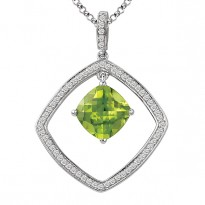 Sterling Peridot Diamond Pendant