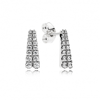 Earrings in sterling silver with 32 bead-set clear cubic zirconia