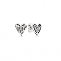 Ice crystal heart stud earrings in sterling silver with clear cubic zirconia