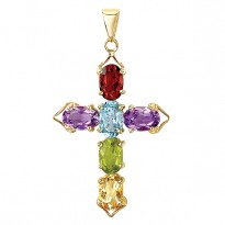 14K CROSS WITH MULTI COLOR    OVAL STONES PENDANT 3.66TCW