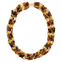 14K W/TIGER EYE and CITRINE     6 STRAND NECKLACE 17