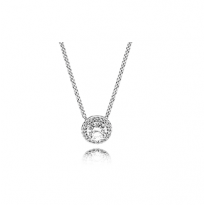 Necklace with clear cubic zirconia, adjustable to 42 cm and 38 cm