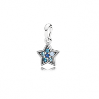 Star pendant in sterling silver with Swiss blue, opalescent, sky, and royal blue crystals