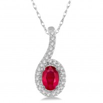 White Gold Ruby and Diamond Necklace