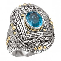 18K/SILVER OVAL DESIGN WITH   BLUE TOPAZ RING BT-10X8MM