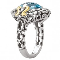 18K/SILVER WITH BLUE TOPAZ    10MM CUSHION RING SZ 6