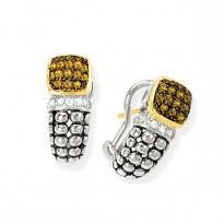 GB PD925 18K CITRINE and WHITE  SAPPHIRE EARRING