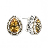 18K/SILVER WITH CITRINE DROP  DESIGN EARRINGS CT-14X10MM