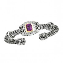 14K and SILVER DIAMOND AMETHYST CUFF D.18 AM1.75 PD.16