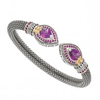 SILVER and 14K W/ AMETHYST AND  RHODOLITE BRACELET