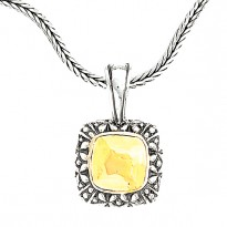 14K and SILVER SQUARE PENDANT   **FITS 4.5MM**    ENHANCER