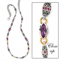 SILVER and 14K W/ AMETHYST AND  RHODOLITE NECKLACE 24