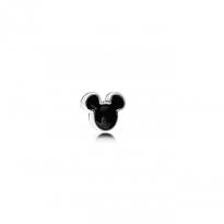 Disney Mickey silhouette petite element in sterling silver with black enamel