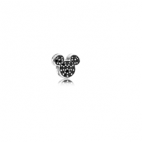 Disney Mickey silhouette petite element in sterling silver with black crystals