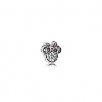 Disney Minnie silhouette petite element in sterling silver with red and clear cubic zirconia