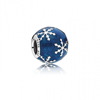 Snowflake charm in sterling silver with shimmering midnight blue enamel