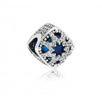 Abstract charm in sterling silver with Swiss blue crystals and clear CZ
