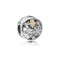 Angel, snowflake and star charm in sterling silver with clear cubic zirconia in 14k gold star details