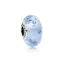Charm in sterling silver with blue and transparent Murano glass with blue cubic zirconia