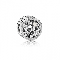 Stars charm in sterling silver with clear cubic zirconia and shimmering silver enamel