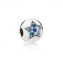 Star clip in sterling silver with Swiss, opalescent, sky, and royal blue crystals