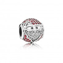 Santa silver charm with red cubic zirconia and clear cubic zirconia
