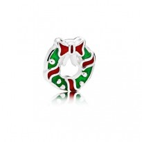 Holiday wreath petite element in sterling silver with berry red and translucent green enamel