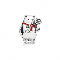 """Christmas bear silver charm with berry red enamel and engraving """"Santa stop here"""""""