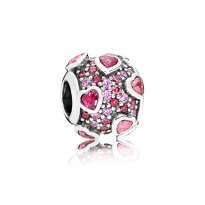 Silver Charm with Fancy Pink, Red and Orchid CZ